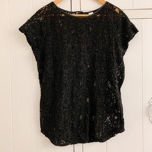 h&m black lace short sleeved shirt, size 12